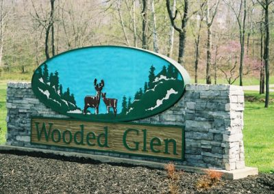 Wooded Glen Sign - blue and green with deer