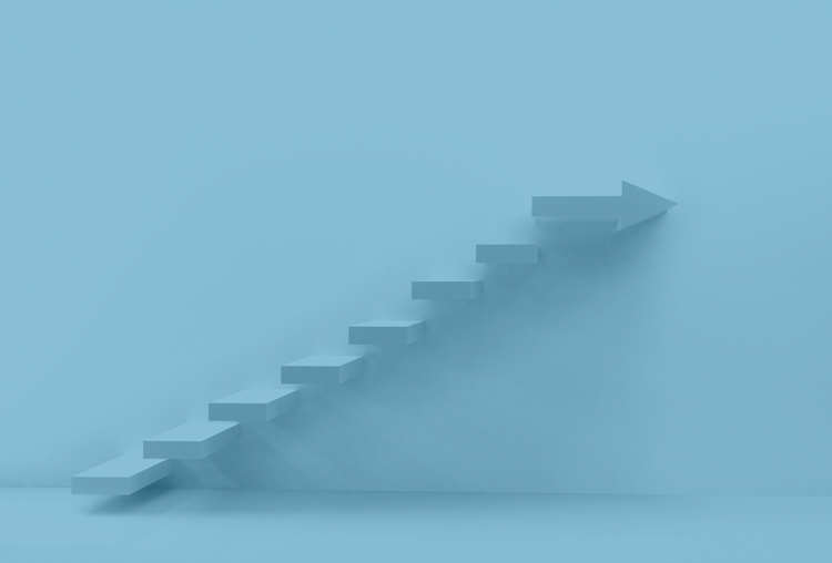 blue image of stairs leading upward - continuum of care