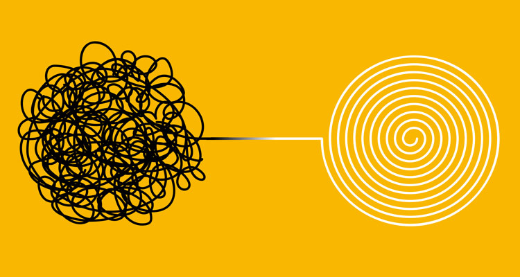 illustration of black line tied in knots transforming into smooth spiral on yellow background - seeking safety