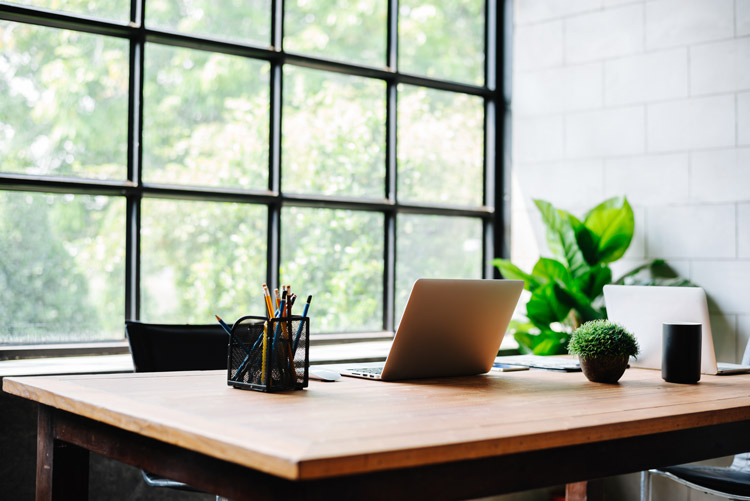 clean desk and workspace - decluttering