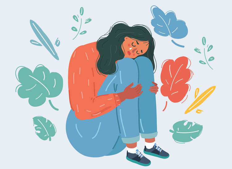 illustration of woman hugging her knees and crying - grief